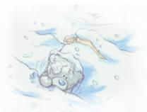 медведь Тедди, зима, холодный день, маленькая снежинка, он не мог двигаться