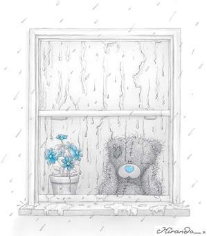 мишка Тедди смотрит в окно, а на улице идёт дождь у него старые окна в квартире а установка окон, новых окот и ремонт окон стоит дорого, ему нужен потребительский кредит на ремонт и новые окна - new windows