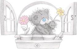 Мишка пересаживает цветы в отдельные