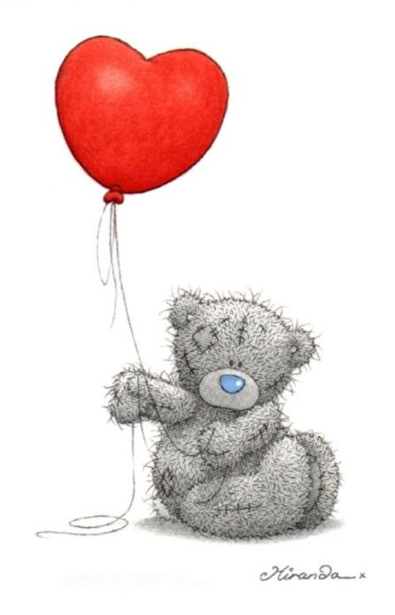Мишка Тедди - картинки.  У меня есть воздушный шар.  Он похож на сердце...